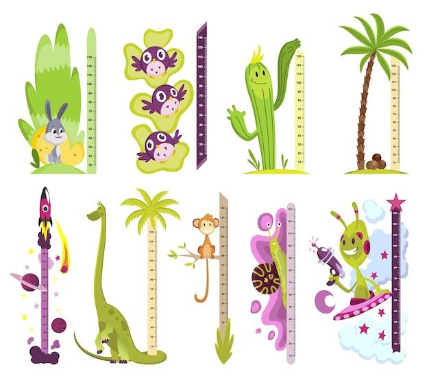 Sammlung von wandmessern mit verschiedenen bildern. aufkleber zum messen der körpergröße kinder