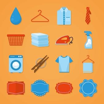 Sammlung von wasch- und reinigungssymbolen