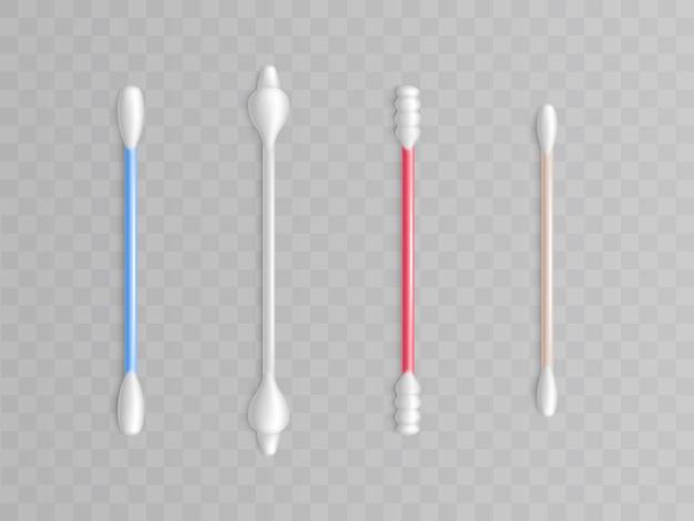 Sammlung von wattestäbchen - verschiedene formen und typen für sauberkeit. realistische toilettenartikel