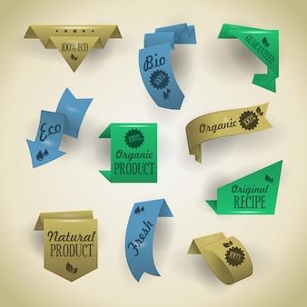 Sammlung von website-bändern, ecken, etiketten, locken und tabs im origami-stil. das bild enthält transparenz - sie können sie auf jede oberfläche legen. 10 eps
