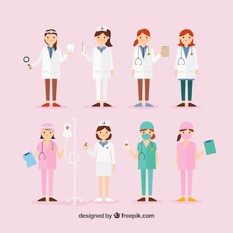 Sammlung von weiblichen medizinischen personal