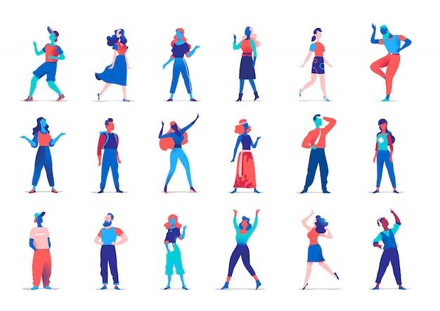 Sammlung von weiblichen und männlichen charakteren in verschiedenen posen lokalisiert auf weißer wand