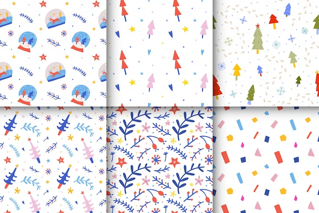 Sammlung von weihnachten nahtlose muster