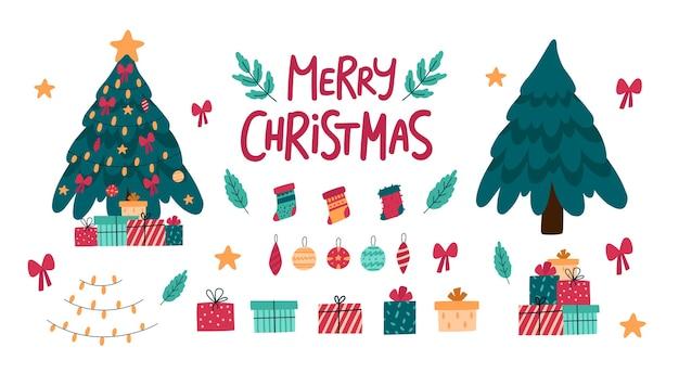 Sammlung von weihnachtlichen dekorativen elementen