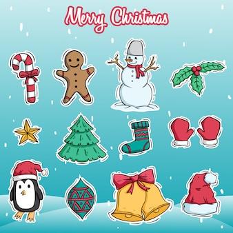 Sammlung von weihnachts-icons oder dekoration