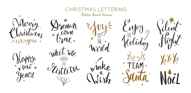 Sammlung von weihnachts- und neujahrs-schriftzügen und kalligraphiephrasen
