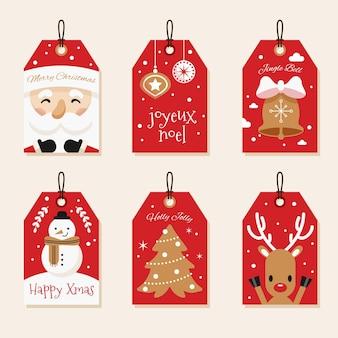 Sammlung von weihnachtsabzeichen im flachen design