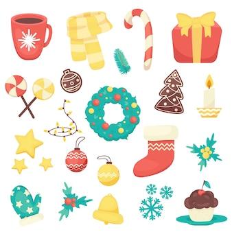 Sammlung von weihnachtsartikeln wie weihnachten