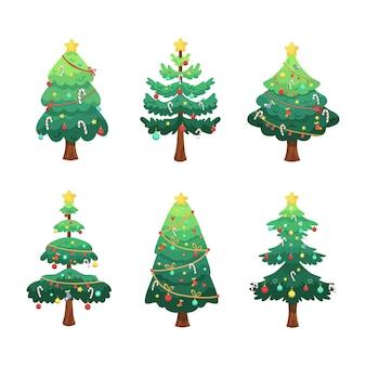 Sammlung von weihnachtsbäumen illustration