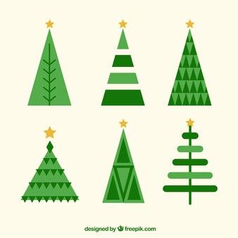 Sammlung von weihnachtsbäumen im flachen design