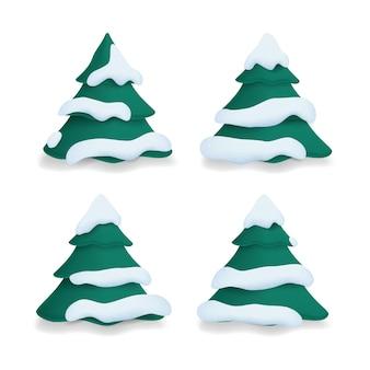 Sammlung von weihnachtsbäumen im schnee