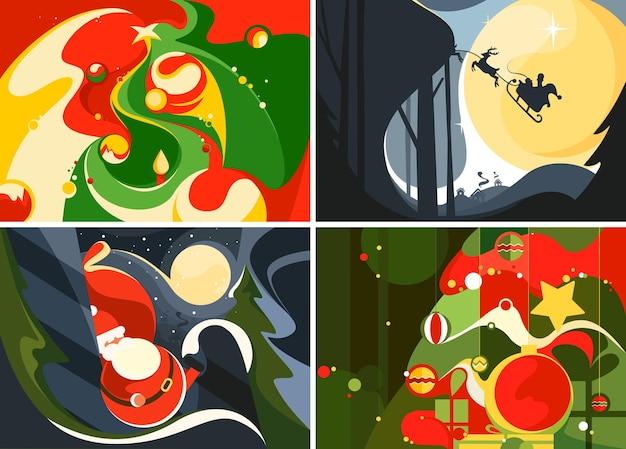 Sammlung von weihnachtsbannern. verschiedene postkartenvorlagen.