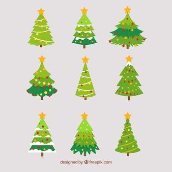 Sammlung von weihnachtsbaum mit dekoration