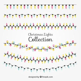 Sammlung von weihnachtsbeleuchtung in vier farben