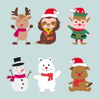 Sammlung von weihnachtscharakterelementen