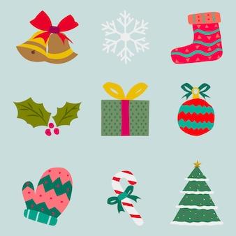 Sammlung von weihnachtsdekorationselement
