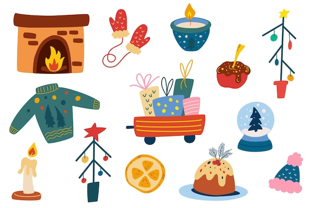 Sammlung von weihnachtselementen. kamin, trolley mit geschenken, weihnachtsbäume, dekorationen, kerzen, gestrickte sachen. schöne ferien. perfekt für grußkarten, einladungen. vektor-illustration.