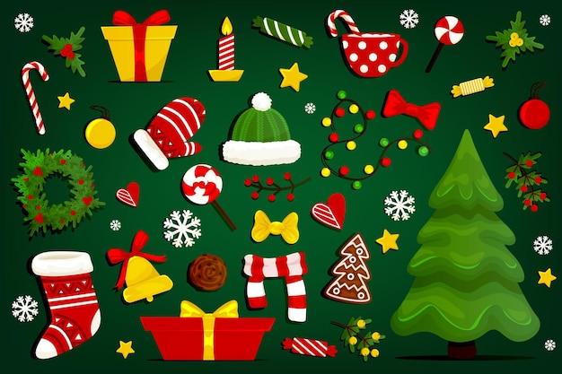 Sammlung von weihnachtselementen lokalisiert auf grünem hintergrund.