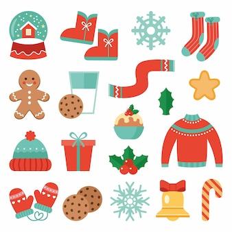 Sammlung von weihnachtselementen lokalisiert auf weiß