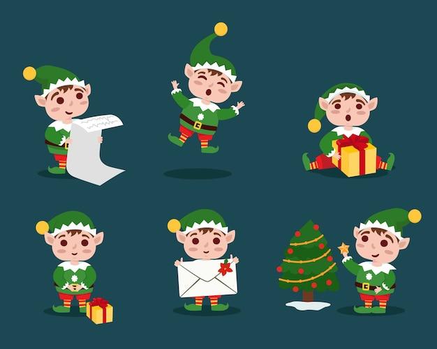 Sammlung von weihnachtselfen