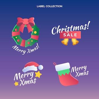 Sammlung von weihnachtsetiketten mit farbverlauf