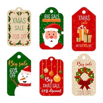 Sammlung von weihnachtsetiketten und -etiketten. Premium Vektoren