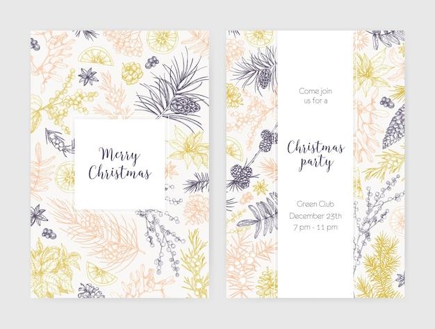 Sammlung von weihnachtsflieger-, karten- oder partyeinladungsschablonen verziert mit saisonalen pflanzen, die mit konturlinien auf weißraum gezeichnet werden