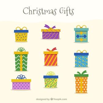 Sammlung von weihnachtsgeschenken im flachen design