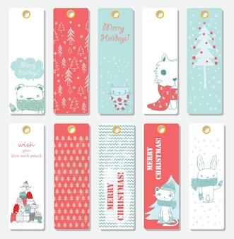 Sammlung von weihnachtskartenvorlagen mit katzen, weihnachtsmann, bären, katzen und handgezeichnetem grußtext frohe weihnachten