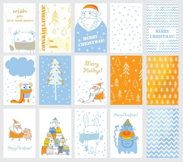 Sammlung von weihnachtskartenvorlagen. weihnachtsposter eingestellt. vektor-illustration. vorlage für gruß scrapbooking, glückwünsche, einladungen.