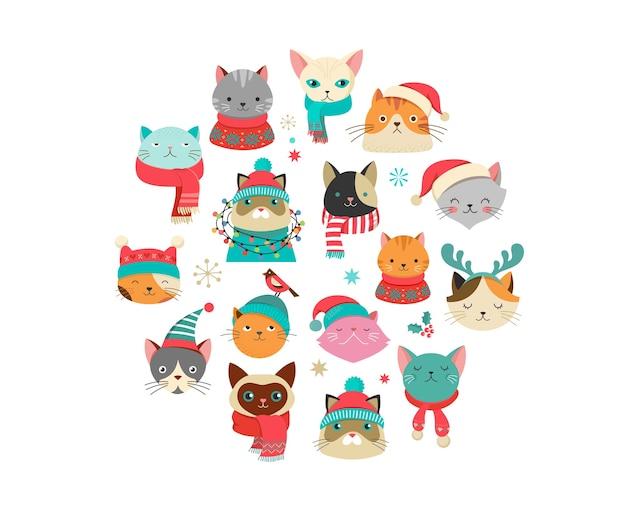 Sammlung von weihnachtskatzen, frohe weihnachten illustrationen von niedlichen katzen mit accessoires wie strickmützen, pullovern, schals