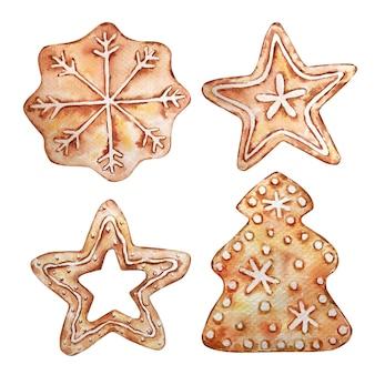 Sammlung von weihnachtslebkuchen, sternen, schneeflocke und baum. aquarellillustration