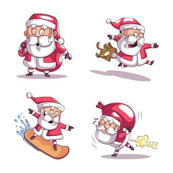 Sammlung von weihnachtsmann in den verschiedenen haltungen