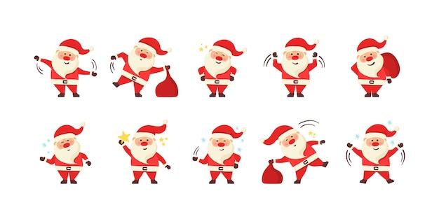 Sammlung von weihnachtsmann. satz lustige zeichentrickfiguren mit verschiedenen emotionen und neujahrsartikeln. satz karikatur-weihnachtsillustrationen lokalisiert auf weißem hintergrund.