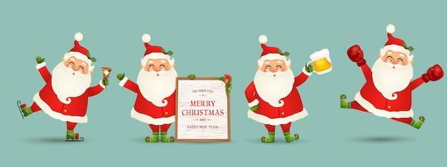 Sammlung von weihnachtsmann weihnachtsmann isoliert. satz lustige zeichentrickfiguren mit verschiedenen emotionen, neujahrsobjekte. großer satz des niedlichen weihnachtsmannes. festlicher charakter zu weihnachten