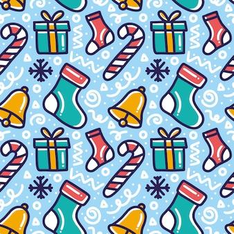 Sammlung von weihnachtsmuster mit ikonen und gestaltungselementen