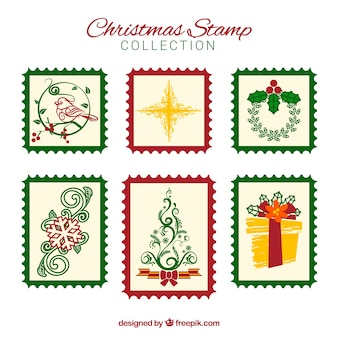 Sammlung von weihnachtsstempel mit roten und grünen rahmen