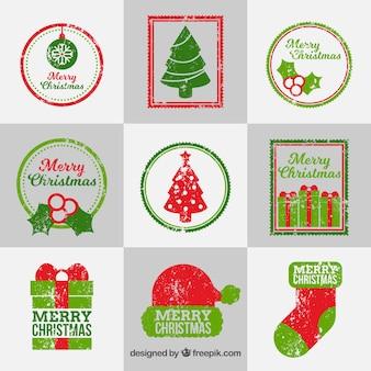 Sammlung von weihnachtsstempeln in rot und grün