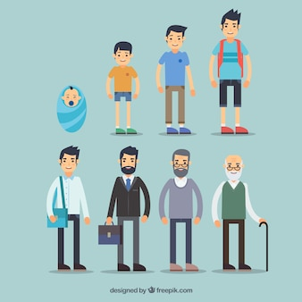 Sammlung von weißen männern in verschiedenen altersstufen