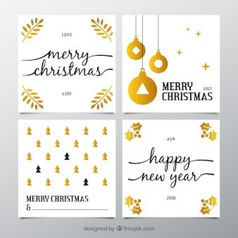 Sammlung von weißen postkarten für weihnachten