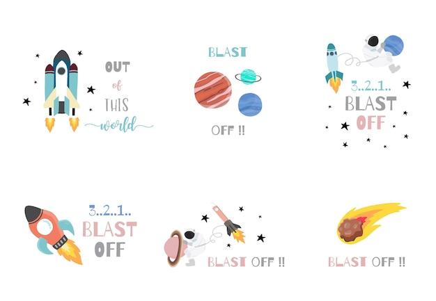 Sammlung von weltraumobjekten mit astronauten, sonne, mond, stern, rakete. bearbeitbare vektorgrafik für website, einladung, postkarte und aufkleber