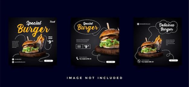 Sammlung von werbevorlagen für soziale medien in den bereichen lebensmittel und kulinarik