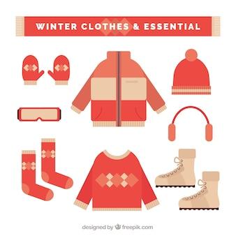 Sammlung von wesentlicher winterkleidung und elemente in flaches design