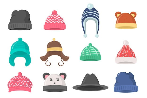 Sammlung von winter- oder herbsthüten im flachen stil. strickmütze, mützen für mädchen und jungen bei kaltem wetter lokalisiert auf weißem hintergrund. symbol für das designelement der webseite.