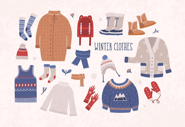 Sammlung von winterkleidung und oberbekleidung isoliert