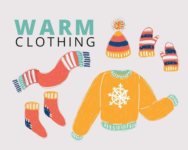 Sammlung von winterkleidung