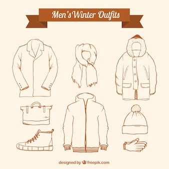 Sammlung von winterskizzen sets