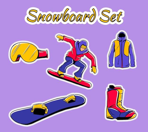 Sammlung von wintersportikonen. snowboardausrüstungssatz isoliert. elemente für das bild eines skigebiets, bergaktivitäten, illustration. satz aufkleber.