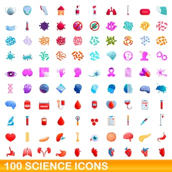 Sammlung von wissenschaftsikonen lokalisiert auf weiß