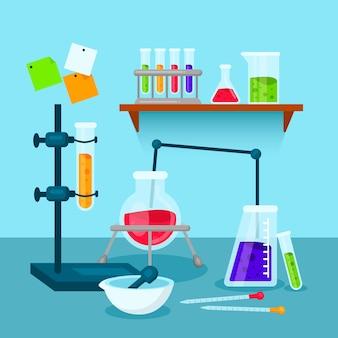 Sammlung von wissenschaftslaborobjekten